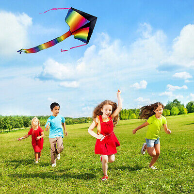 UK Huge Rainbow Flying Kite 100M String Kids Children Outdoor Game Fun Child Toy