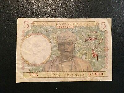 FRENCH WEST AFRICA  5 Francs  1943
