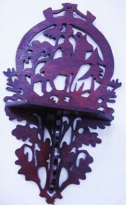 antique victorian WOOD WALL SHELF black forest  DEER SCROLL CUT early candle