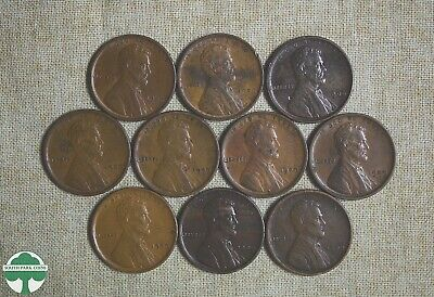 Lot Of 10 - 1909 Vdb Lincoln Wheat Cents - Nice Grades
