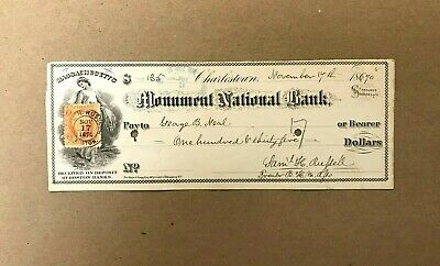 1870 Monument National Bank Obsolete Check from Charlestown, MASS