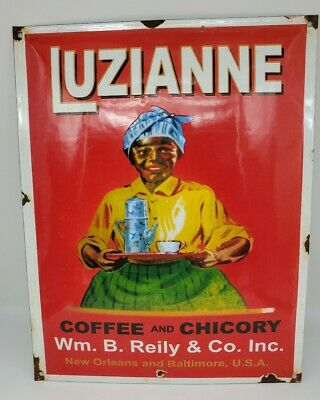 LUZIANNE porcelain sign COFFEE CHICORY TEA vintage store bakery brand display