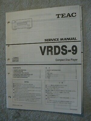 Teac VRDS-9 CD Player Service Manual, Great Condition, Original.