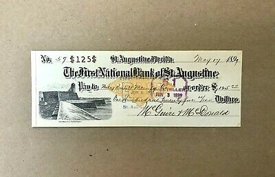 1899 The First National Bank of St. Augustine Florida Obsolete Check