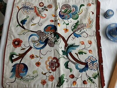 Hand Embroidered Crewel Work Cushion Cover On Linen