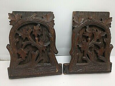 Antique Folk Art Carved Wood Folding Bookends Nice Pair!