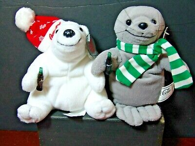 Coca Cola Plush Bear & Seal NEW