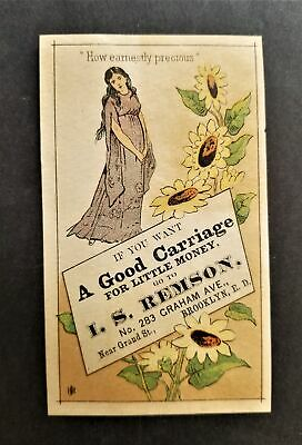1880 antique I S REMSON brooklyn ny CARRIAGE victorian trade card ad
