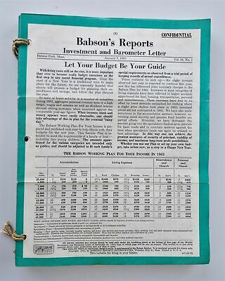 LOT 1963 vintage BABSON's REPORTS Investment Guide w KENNEDY ASSASINATION Letter