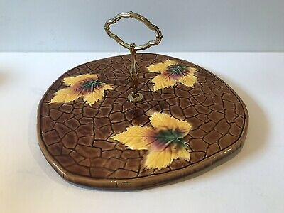 Vintage SARREGUEMINES French Majolica Brown Autumnal Leaf Cheese Plate Tray