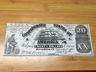 1861 $20 Confederate Note; C.S.A. Currency Early Civil War Times Richmond VA