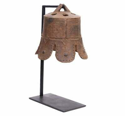 Chinese Qing Dynasty Iron Temple Bell With Stand