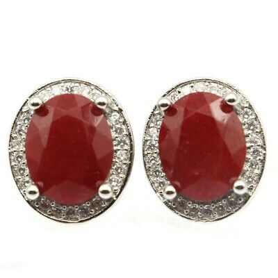 Beautiful Real Red Ruby White CZ Ladies Wedding Silver Earrings