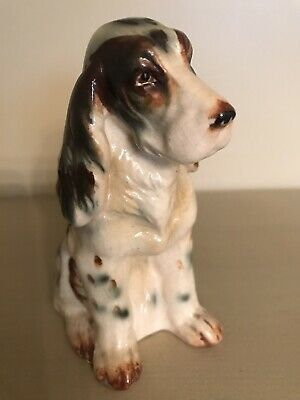 "Vintage CERAMIC DOG FIGURINE *SPRINGER SPANIEL* 4.5"" (MADE IN JAPAN)"