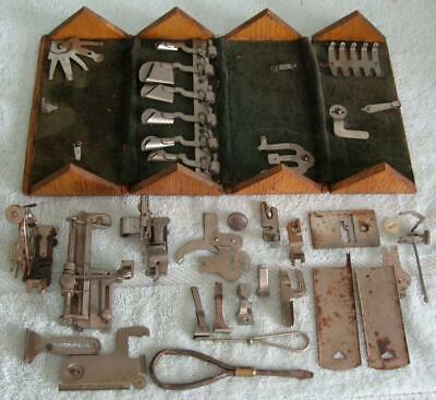 1889 Vintage Singer Sewing Machine Attachments and  Wood Box Case