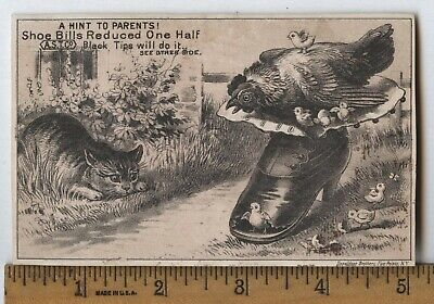 Antique Victorian Trade Card Cat Stalks Hen Chicks Shoes Ast Spring Valley Ny