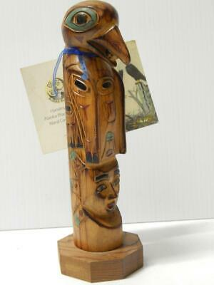 VINTAGE ALASKA CANADA INDIAN TWO FIGURE WOOD TOTEM  SON + RAVEN by RAY MOORE