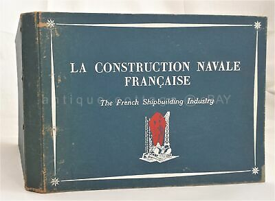 1951 vintage FRENCH SHIPBUILDING CONSTRUCTION illus BOOK w LETTER maritime