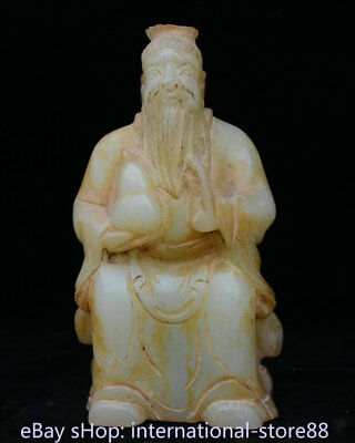 """10.4"""" Old Chinese White Jade Carving Dynasty Taoism Lao Zi Gourd Sculpture"""