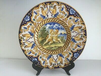 Antiq Italian Maiolica Majolica Faience Hand Painted KISSING PUTTI Charger Plate