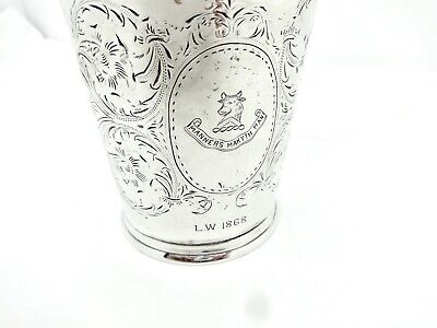 Rare F.a.durgin St.louis 1868 Bull Head Crested Sterling Silver Mint Julep Cup