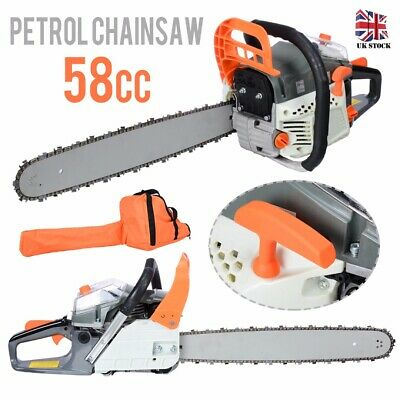 """58cc 3.4HP 20"""" Petrol Chainsaw + 2 X Chains + Oil Bottles + Carrying Bag +More"""