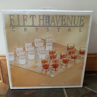 Fifth-Avenue-Crystal-Ltd-Shot-Glass-Checkers-Set-Frosted-Clear-New-In-Box