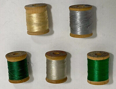 5 Vintage Wooden Spools Of Silk Thread
