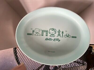 "HELLO KITTY Paris Teal Trinket Tray Plate Oval Plastic 8.5"" X 6"" Trudeau Sanrio"