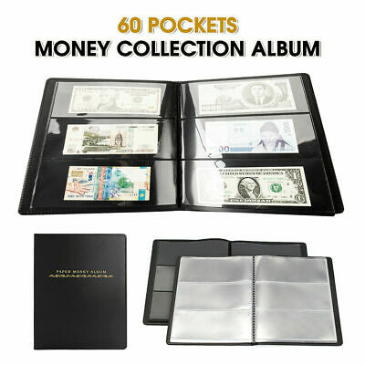 60 Pockets Banknote Album Notes Paper Money Collection Stamps Book Soft Leather