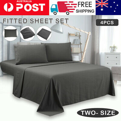Single/KS/Double/Queen/King 4 Piece Bed Sheet Set,Flat,Fitted,Pillowcases