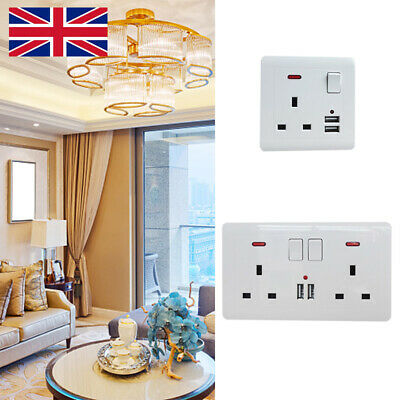 Double Wall Plug Socket 2 Gang 13A with 2 USB Charger Port Outlets Plate D