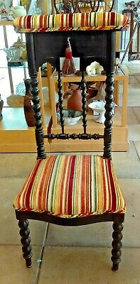Victorian French Ebonised Bobbin Turned Alter Chair/Pray Stool Re-Upholstered