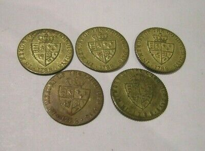 1788 Geo.111 Gaming Tokens X 5