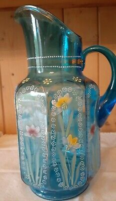Gorgeous  Bohemian  Chech  Hand Painted Blue Glass Pitcher
