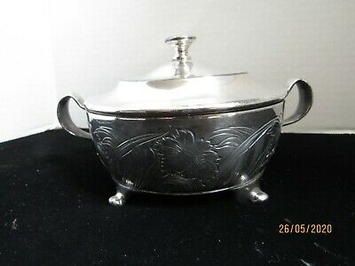 Antique Forbes Silver Co.usa Covered Butter Dish With Knife Holder