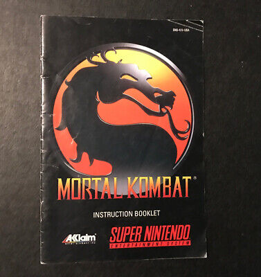 Mortal Kombat Instruction Booklet Manual for Super Nintendo