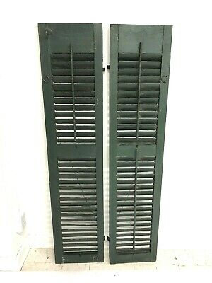 Vintage WOOD SHUTTERS PAIR green farmhouse exterior architectural salvage shabby