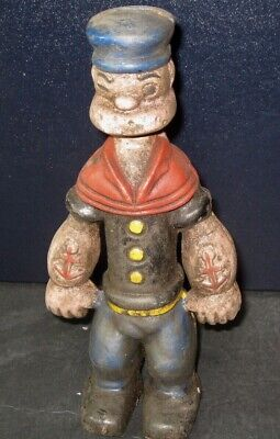 """POPEYE Cast Iron Toy Bank 9"""" Collectible Banks Comic Book Characters"""