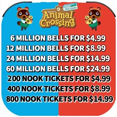 Animal Crossing New Horizons BELLS, NOOK TICKETS, FISH BAIT 2 Mins DELIVERY