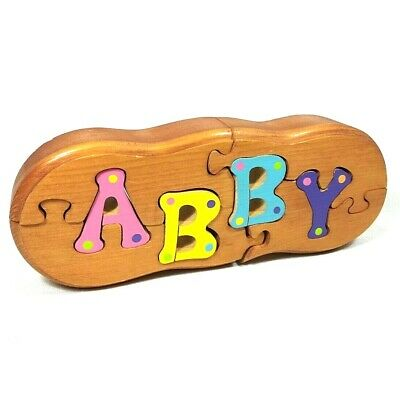 Abby Name Puzzle Baby Gift Wood Wooden Sign Decoration Puzzle Nursery