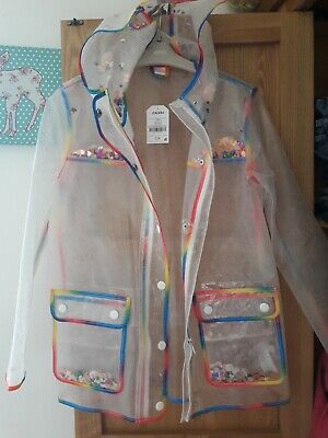 Girls Raincoat 12 Years Next New Clear Sequin Jacket