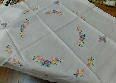 VTG German Hand Embroidered Pink & Purple Floral Tablecloth 30x31 Never Used