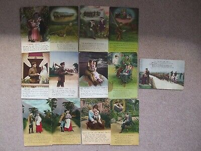 13 Old Bamforth's Song Card Postcards (Some Military Themes)
