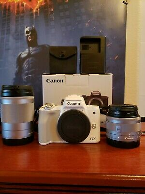 Canon EOS M50 24.1 MP Mirrorless Camera with EF-M 15-45mm and 18-150mm lens