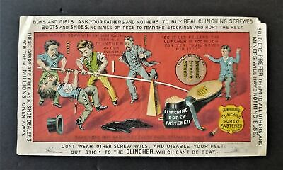 1880 antique JOHN CAYZER manchester nh BOOTS SHOES RUBBERS clinching screw AD