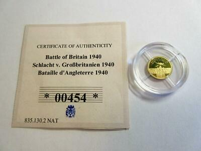 LONDON MINT 'Battle of Britain 1940' 14ct GOLD 1/4 COIN 2015 - Ltd Ed - Mint!