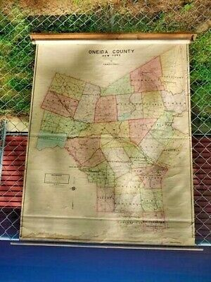 RARE Early 1900s Oneida County NY Pull Down Map on Denoyer Geppert Wall Mount