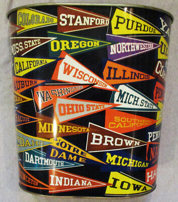 Mid-Century Modern Metal Harvell-Kilgore Trash Can College Colors & Flags