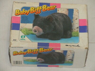 Vintage 1987 Iwaya Battery Operated Op Baby Biff Bear Toy With Box